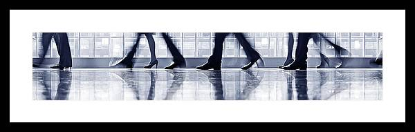 Corporate Business Framed Print featuring the photograph Businesspeople Walking In Lobby, Low by Poba