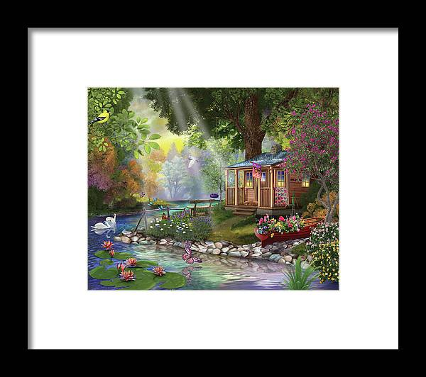 Butterfly Lake Framed Print featuring the painting Butterfly Lake by Bigelow Illustrations