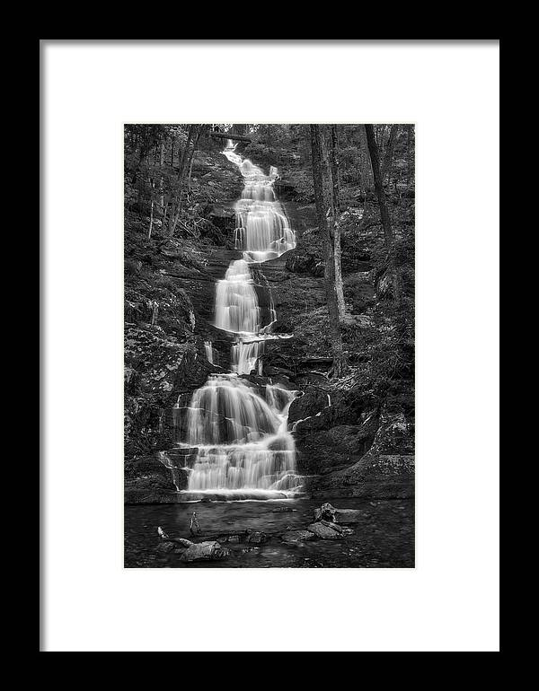 Buttemilk Falls Framed Print featuring the photograph Buttermilk Falls Bw by Susan Candelario