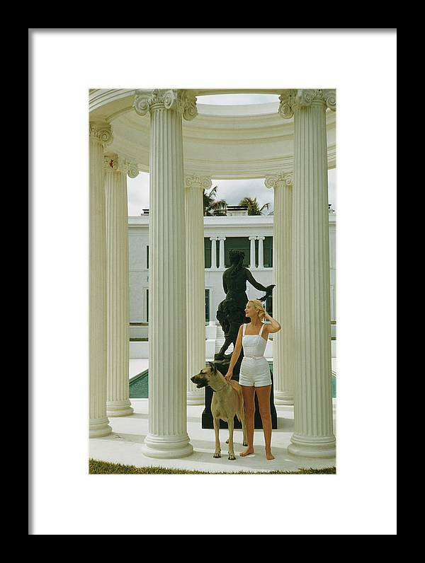 Pets Framed Print featuring the photograph C. Z. Guest by Slim Aarons