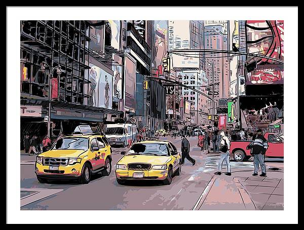 Hand Drawings Framed Print featuring the drawing Cab City New York by Stanley Mathis