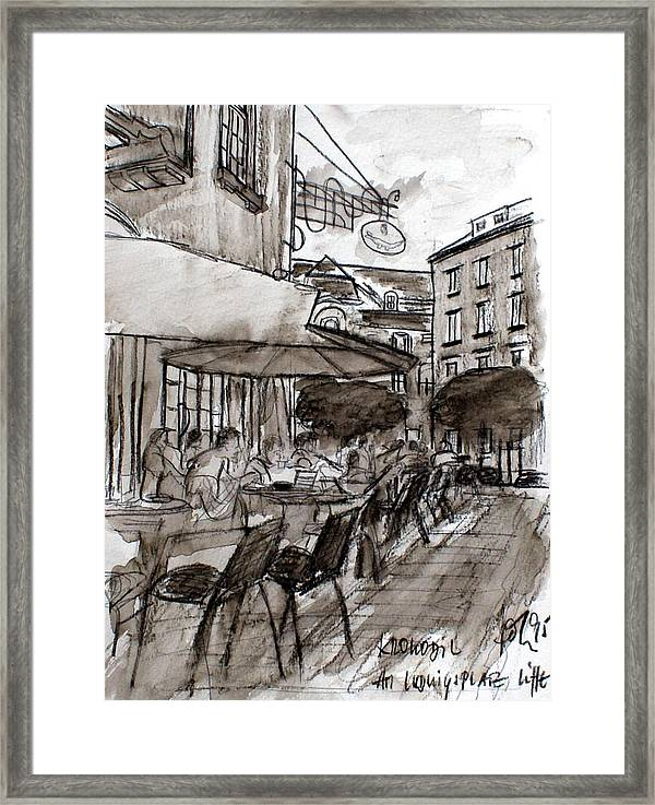 Cafe Framed Print featuring the drawing Cafe Krokodil Karlsruhe by Andreas Hoetzel