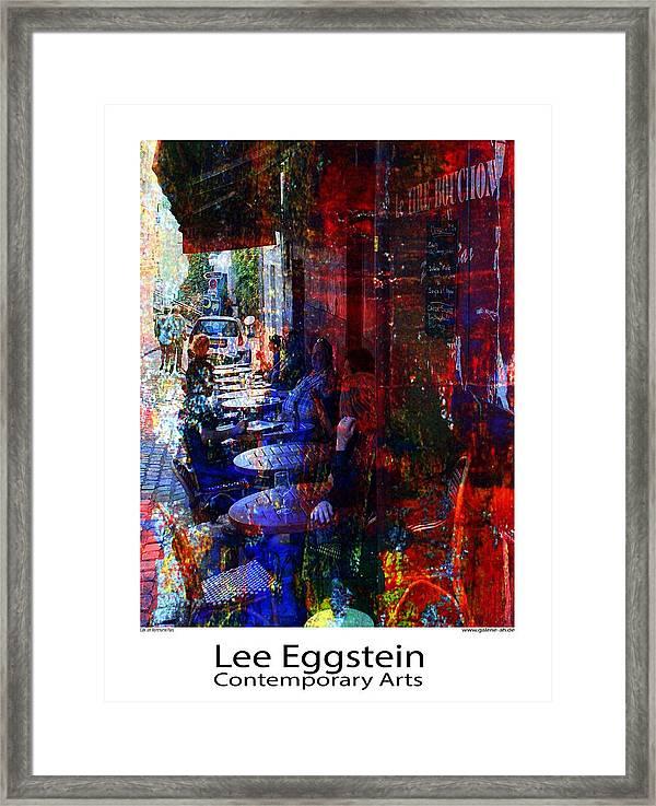 Cafeszene Framed Print featuring the painting Cafeszene by Lee Eggstein