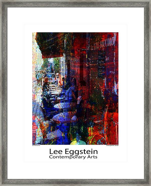 Cafeszene Framed Print featuring the painting Cafeszene by Lee Eggstein