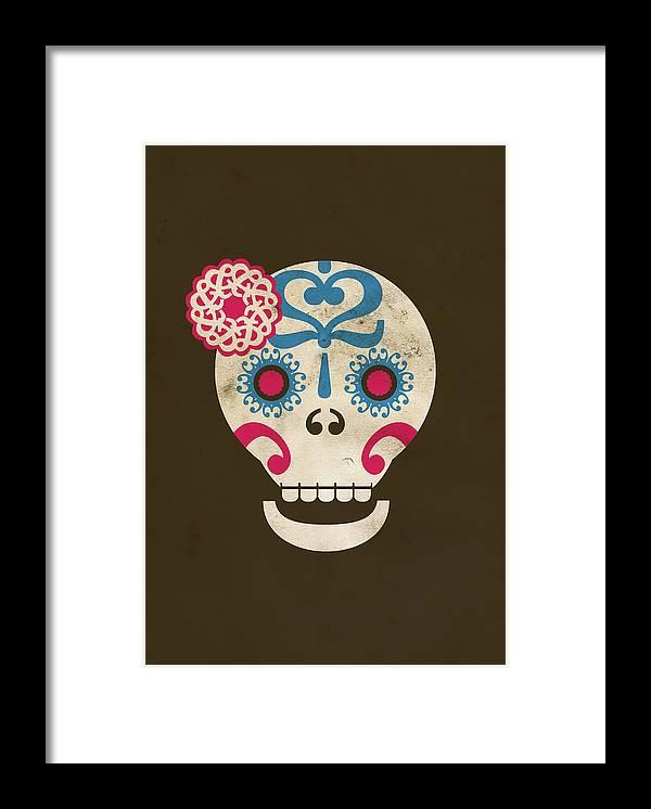 Animal Skull Framed Print featuring the digital art Calaca by Marco Recuero