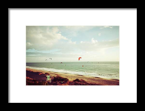 California Framed Print featuring the photograph California Tilt Shifted Kite Surfers by Kevinruss
