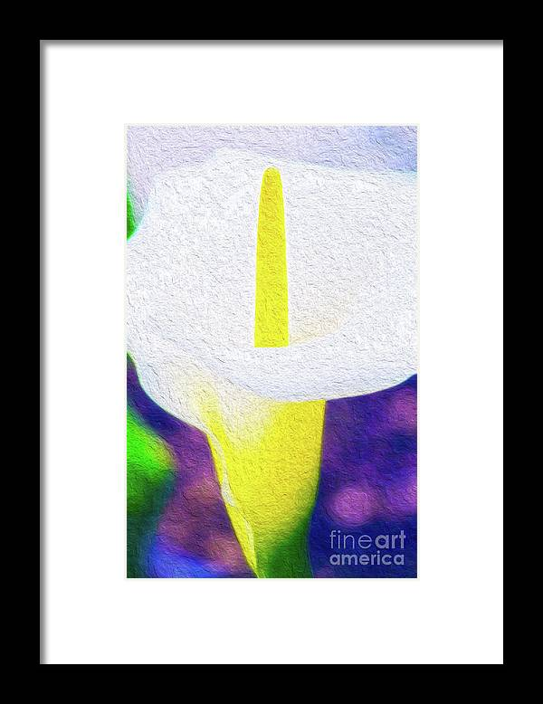 Vibrant Framed Print featuring the digital art Calla Lily Blossom I by Kenneth Montgomery