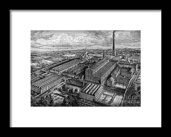 Working Framed Print featuring the drawing Camperdown Linen Works, Dundee, C1880 by Print Collector