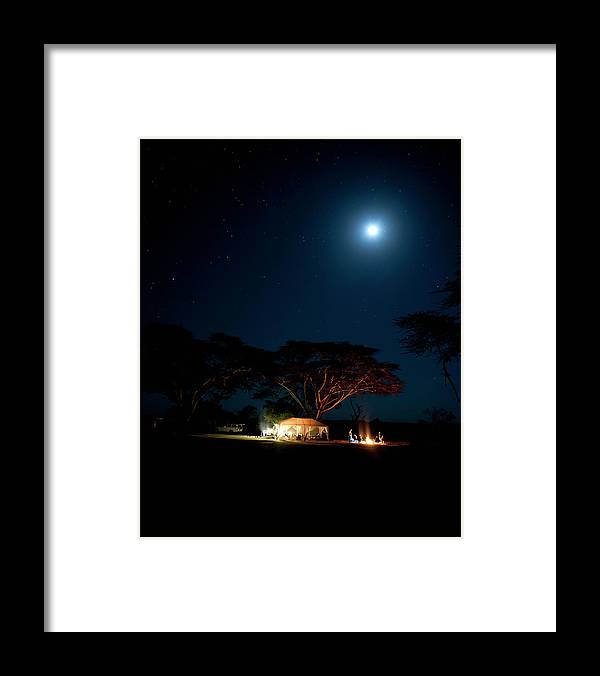 Tranquility Framed Print featuring the photograph Camping Under Fever Tree And Full Moon by Mike D. Kock