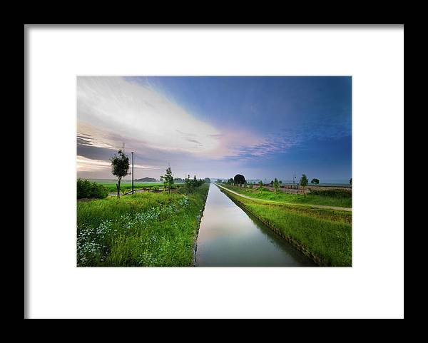 Scenics Framed Print featuring the photograph Canal De Lourcq - Precy Sur Marne - by © Nicolas Gaire