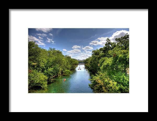 Recreational Pursuit Framed Print featuring the photograph Canoes On Town Lake In Downtown Austin by Metschan