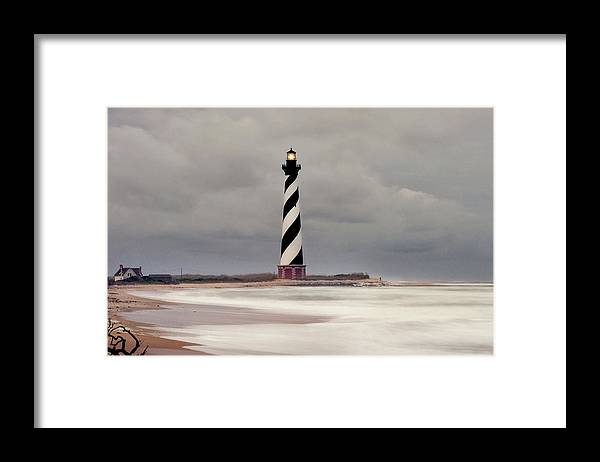 Scenics Framed Print featuring the photograph Cape Hatteras Lighthouse In Storm by Wbritten