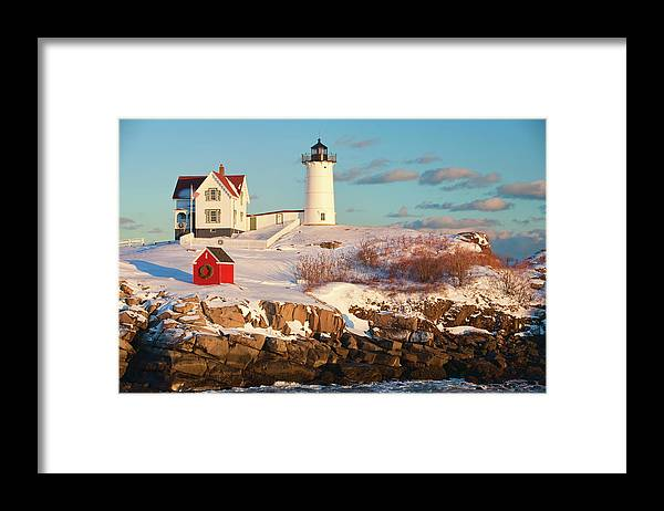 Snow Framed Print featuring the photograph Cape Neddick Nubble Light by Kickstand