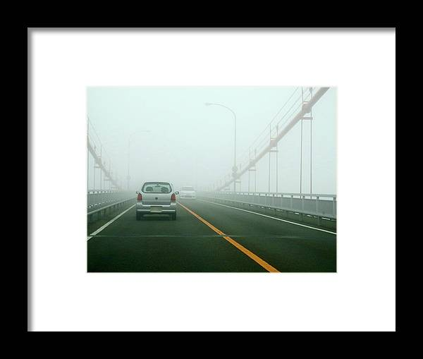 Dawn Framed Print featuring the photograph Car Crossing Bridge by Kurosaki San