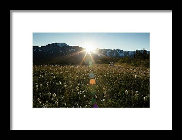 Scenics Framed Print featuring the photograph Car On Rural Dirt Road In Mountains At by Noah Clayton