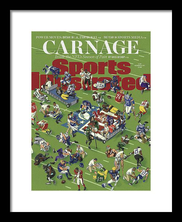Magazine Cover Framed Print featuring the photograph Carnage Inside The Nfls Season Of Pain Sports Illustrated Cover by Sports Illustrated