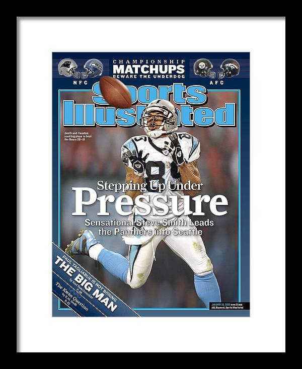 Playoffs Framed Print featuring the photograph Carolina Panthers Steve Smith, 2006 Nfc Divisional Playoffs Sports Illustrated Cover by Sports Illustrated