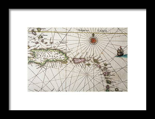 Engraving Framed Print featuring the digital art Carribean Islands by Goldhafen