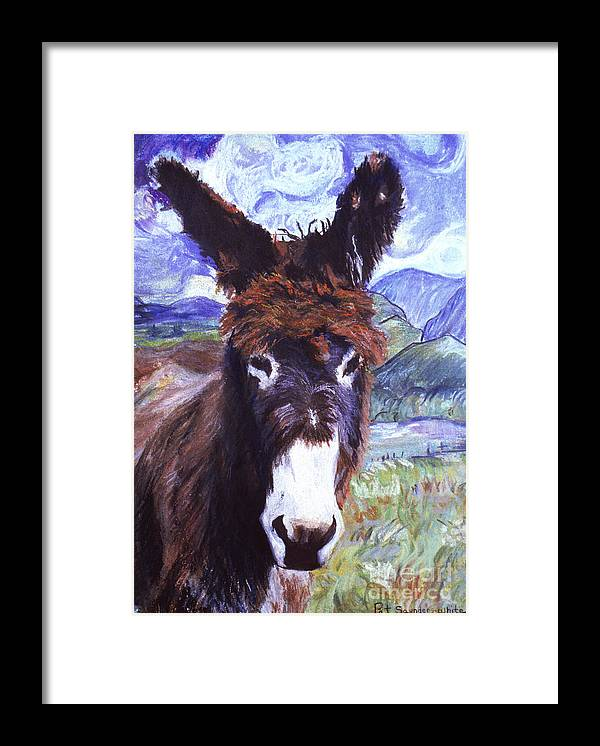 Burro Framed Print featuring the painting Carrot Top by Pat Saunders-White