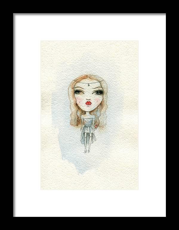 Beauty Framed Print featuring the digital art Cartoon Cute Child Girl . Watercolor by Anna Ismagilova