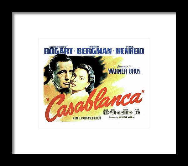 Casablanca Framed Print featuring the mixed media Casablanca by Movie Poster Prints