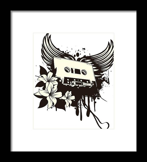 Gothic Framed Print featuring the digital art Cassette Tape With Wings by Passion Loft