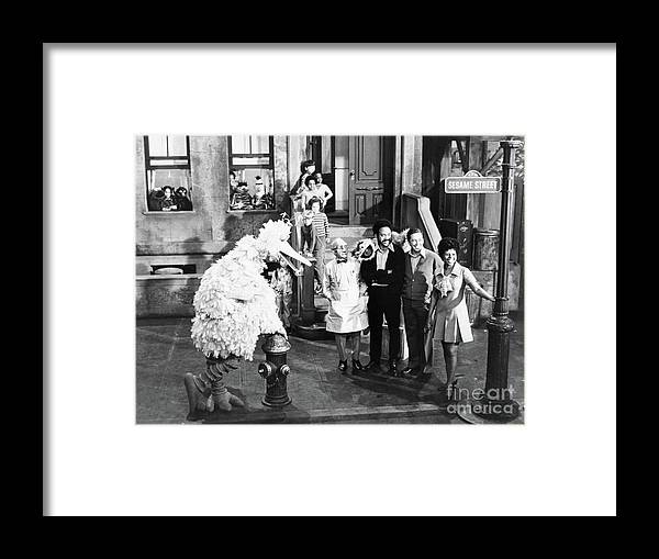 Toddler Framed Print featuring the photograph Cast Of Sesame Street by Bettmann