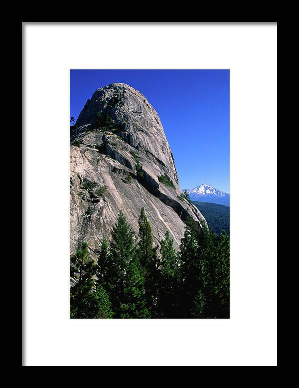 Toughness Framed Print featuring the photograph Castle Crags With Mt Shasta In by John Elk Iii