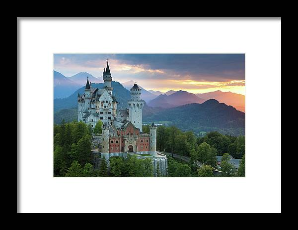 Scenics Framed Print featuring the photograph Castle Neuschwanstein With A Dramatic by Ingmar Wesemann
