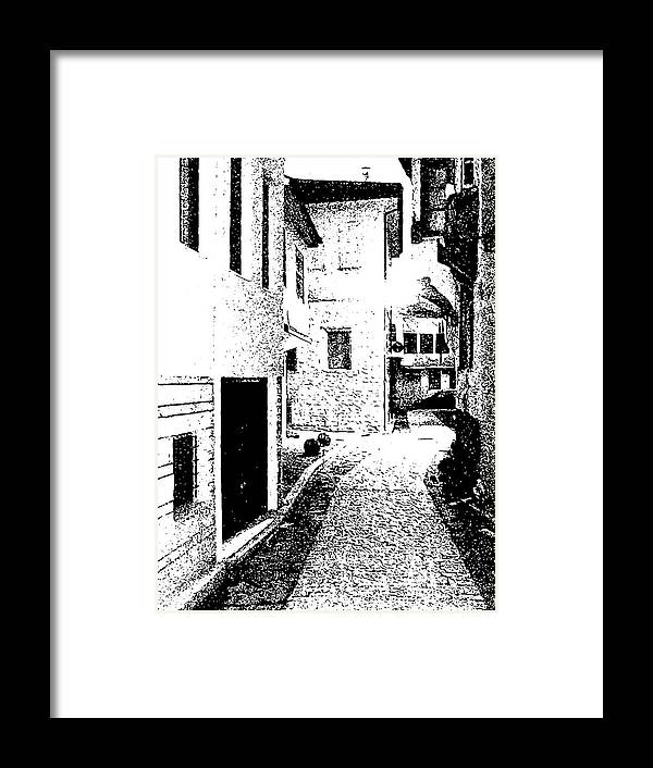 Art Framed Print featuring the digital art Alley In The Castle Of Ioannina by Nicholas V K