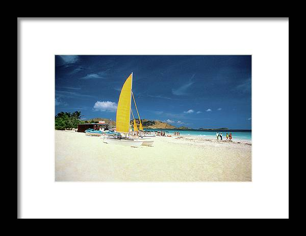 Orient Beach Framed Print featuring the photograph Catamarans And People On Martin Orient by Medioimages/photodisc