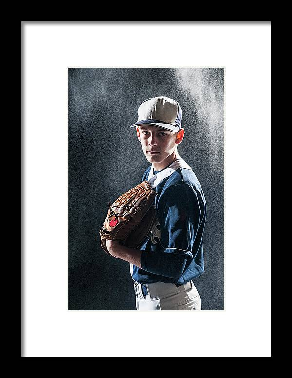 Baseball Cap Framed Print featuring the photograph Caucasian Baseball Player Standing by Erik Isakson