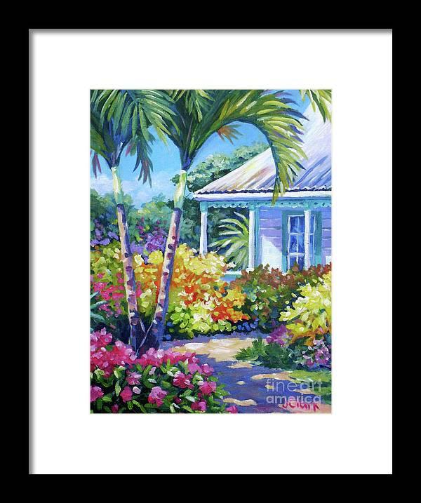 Art Framed Print featuring the painting Cayman Yard by John Clark