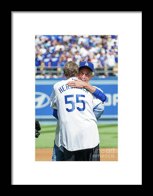 Sandy Koufax Framed Print featuring the photograph Celebrities At The Los Angeles Dodgers by Noel Vasquez