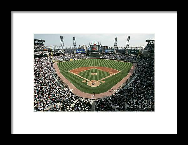 American League Baseball Framed Print featuring the photograph Celeveland Indians V Chicago White Sox by Jonathan Daniel