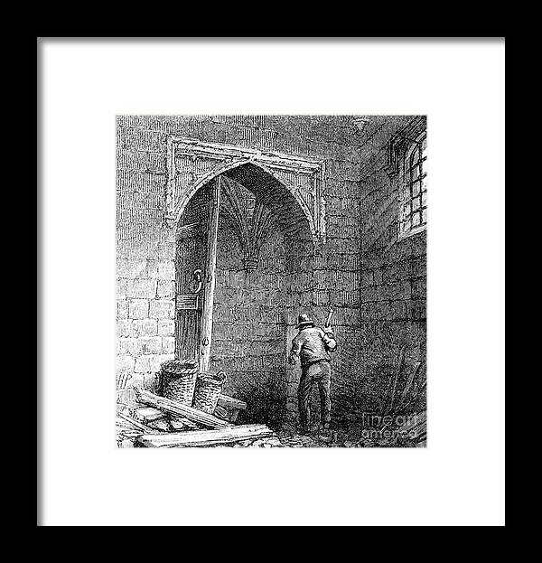 Engraving Framed Print featuring the drawing Cellars Beneath The Houses by Print Collector