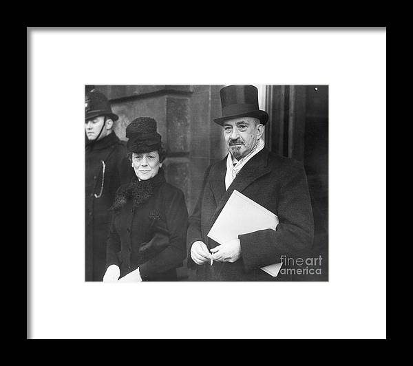 Palestinian Territories Framed Print featuring the photograph Chaim Weizmann And His Wife Vera by Bettmann