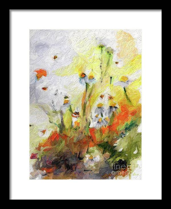 Flower Paintings Framed Print featuring the digital art Chamomile Flowers Digital Impressionism Art by Ginette Callaway