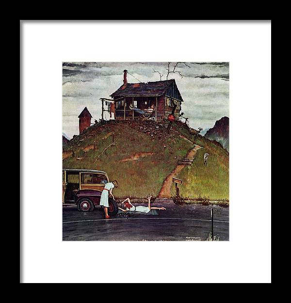 Automobiles Framed Print featuring the drawing Changing A Flat by Norman Rockwell