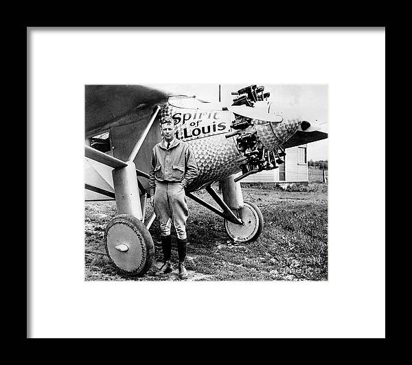 New Jersey Framed Print featuring the photograph Charles Lindbergh Alongside The Spirit by New York Daily News Archive