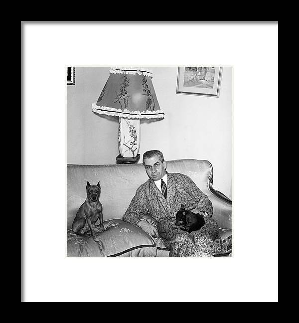 Pets Framed Print featuring the photograph Charles Luciano On Couch With Pets by Bettmann