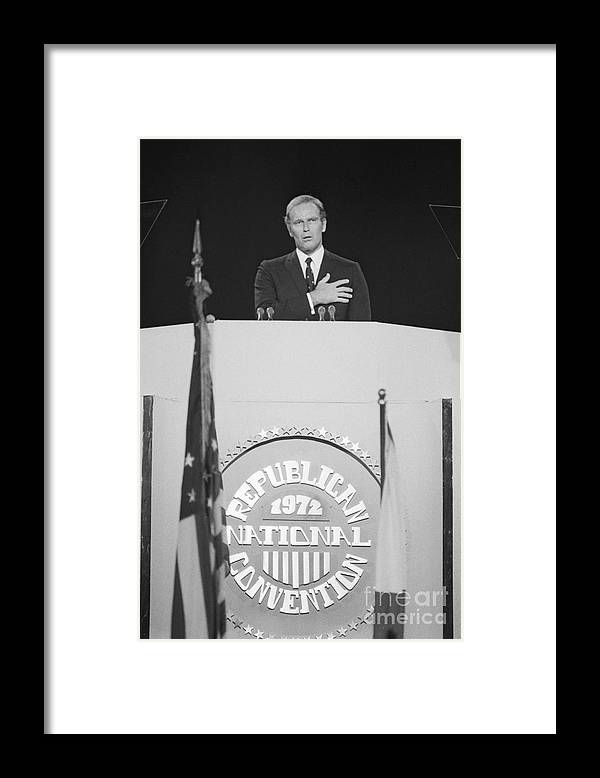 People Framed Print featuring the photograph Charlton Heston Leading The Pledge by Bettmann