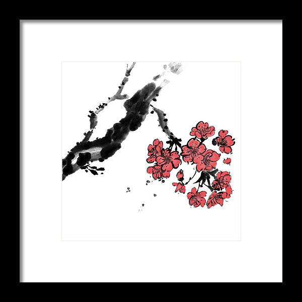 Chinese Culture Framed Print featuring the digital art Cherry Blossoms by Vii-photo
