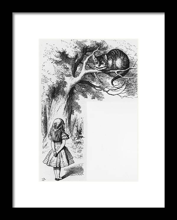 Child Framed Print featuring the digital art Cheshire Cat by Rischgitz