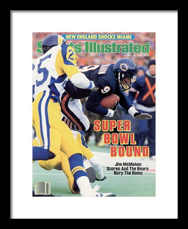 Magazine Cover Framed Print featuring the photograph Chicago Bears Qb Jim Mcmahon, 1986 Nfc Championship Sports Illustrated Cover by Sports Illustrated