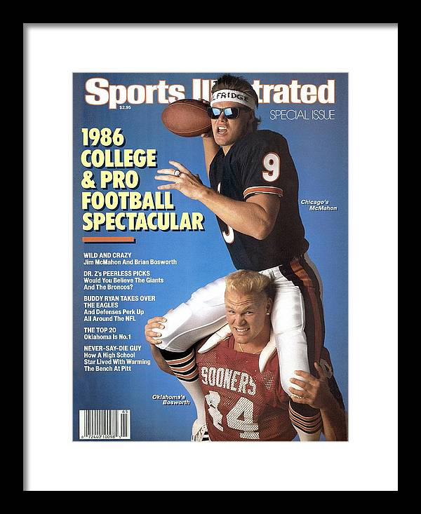 1980-1989 Framed Print featuring the photograph Chicago Bears Qb Jim Mcmahon And Oklahoma University Brian Sports Illustrated Cover by Sports Illustrated