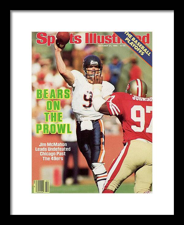 Candlestick Park Framed Print featuring the photograph Chicago Bears Qb Jim Mcmahon... Sports Illustrated Cover by Sports Illustrated