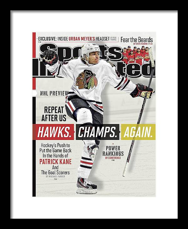 Magazine Cover Framed Print featuring the photograph Chicago Blackhawks Patrick Kane, 2013-14 Nhl Hockey Season Sports Illustrated Cover by Sports Illustrated