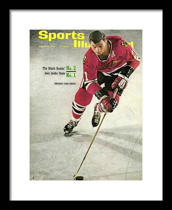 People Framed Print featuring the photograph Chicago Blackhawks Stan Mikita... Sports Illustrated Cover by Sports Illustrated