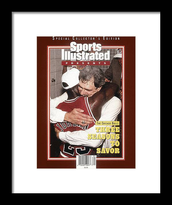 Chicago Bulls Framed Print featuring the photograph Chicago Bulls Coach Phil Jackson And Michael Jordan, 1993 Sports Illustrated Cover by Sports Illustrated